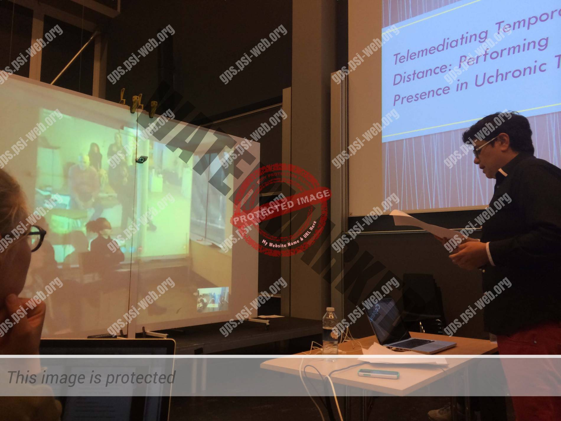 Figure 1 donia mounsef presenting her talk telemediating temporal distance in the telematic space in copenhagen photo gunhild borggreen